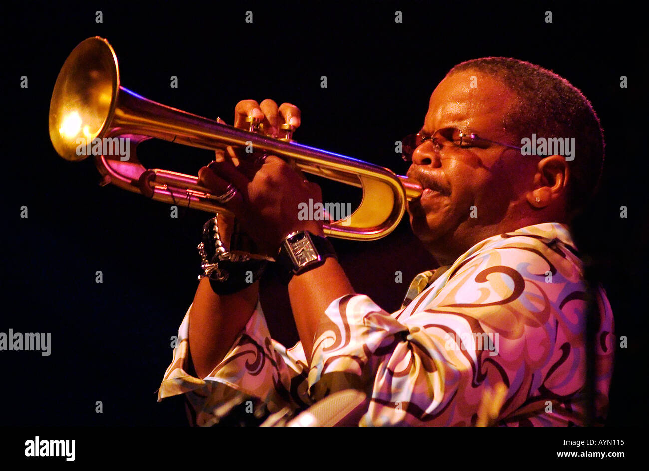 Terence Blanchard plays his trumpet at the MONTEREY JAZZ