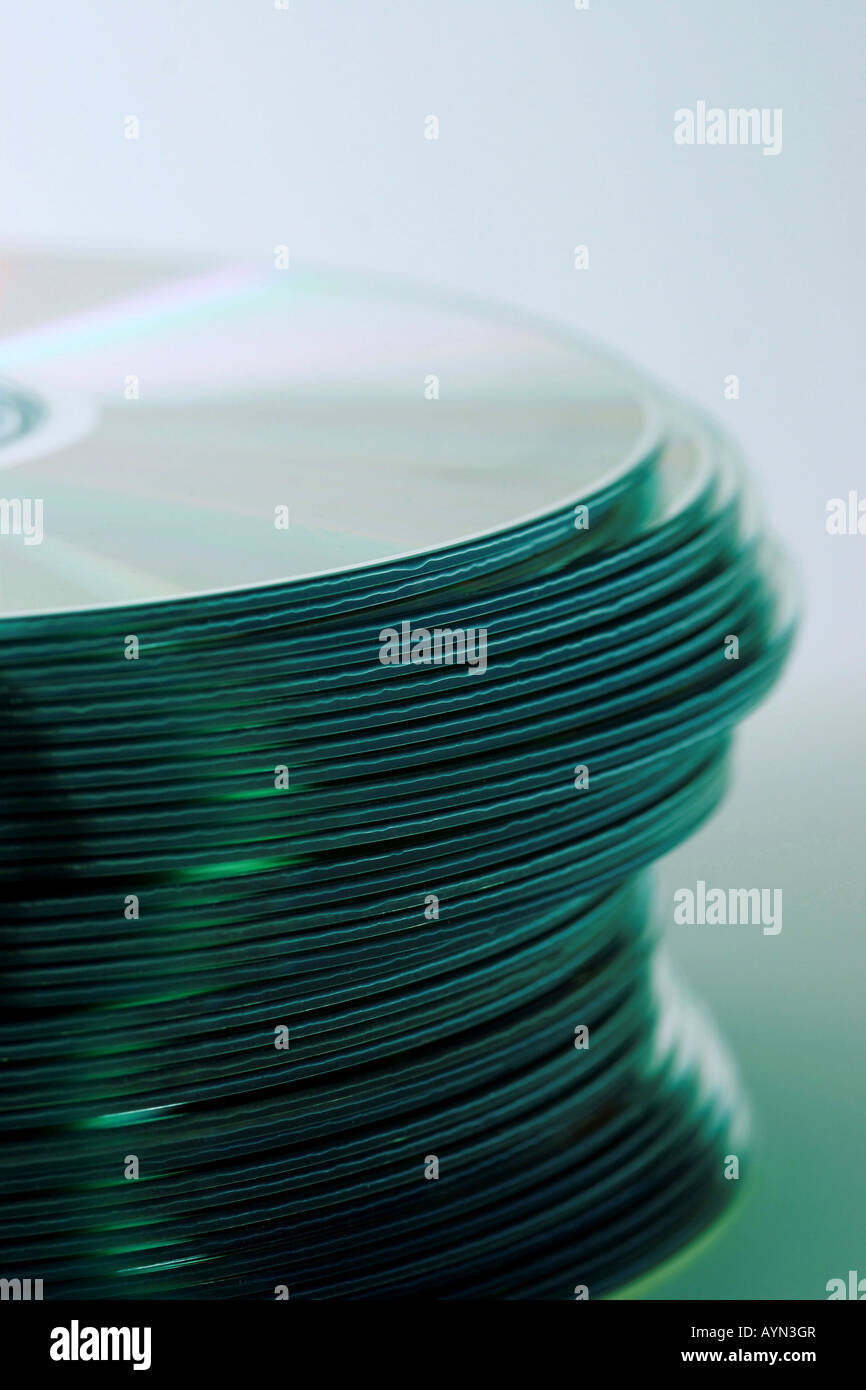 Stack of CD s fresh from duplication - Stock Image
