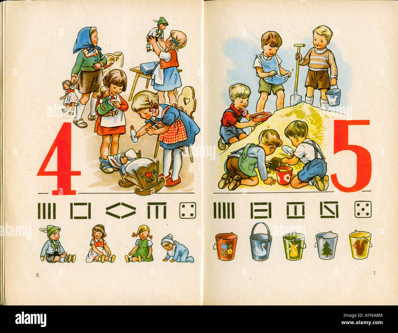 education, educational material, school book 'Leben und Zahl' (Life and figure), 1st form, publishing house - Stock Image