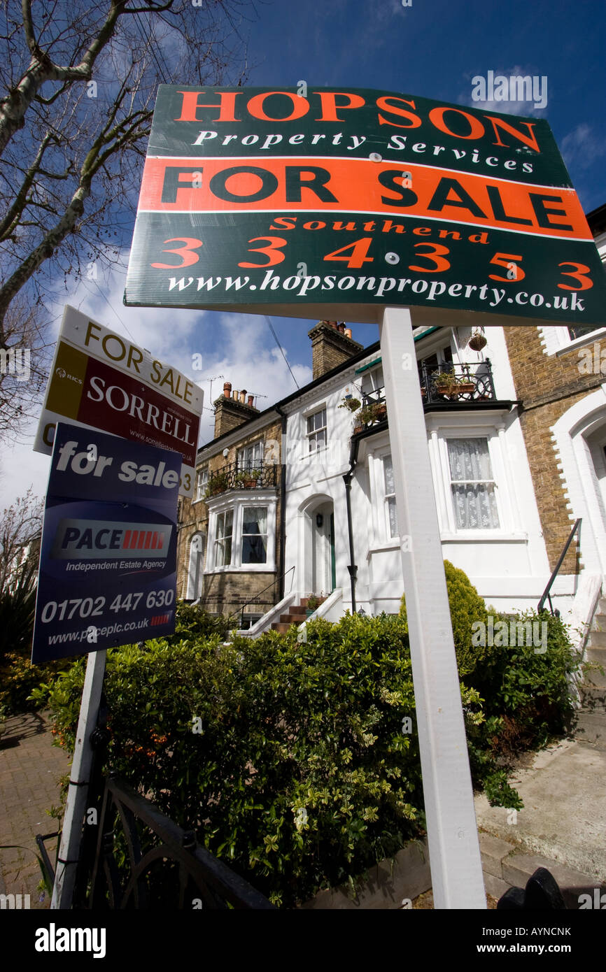 Property prices, estate agents placards on properties flats and houses for sale southend on sea essex - Stock Image