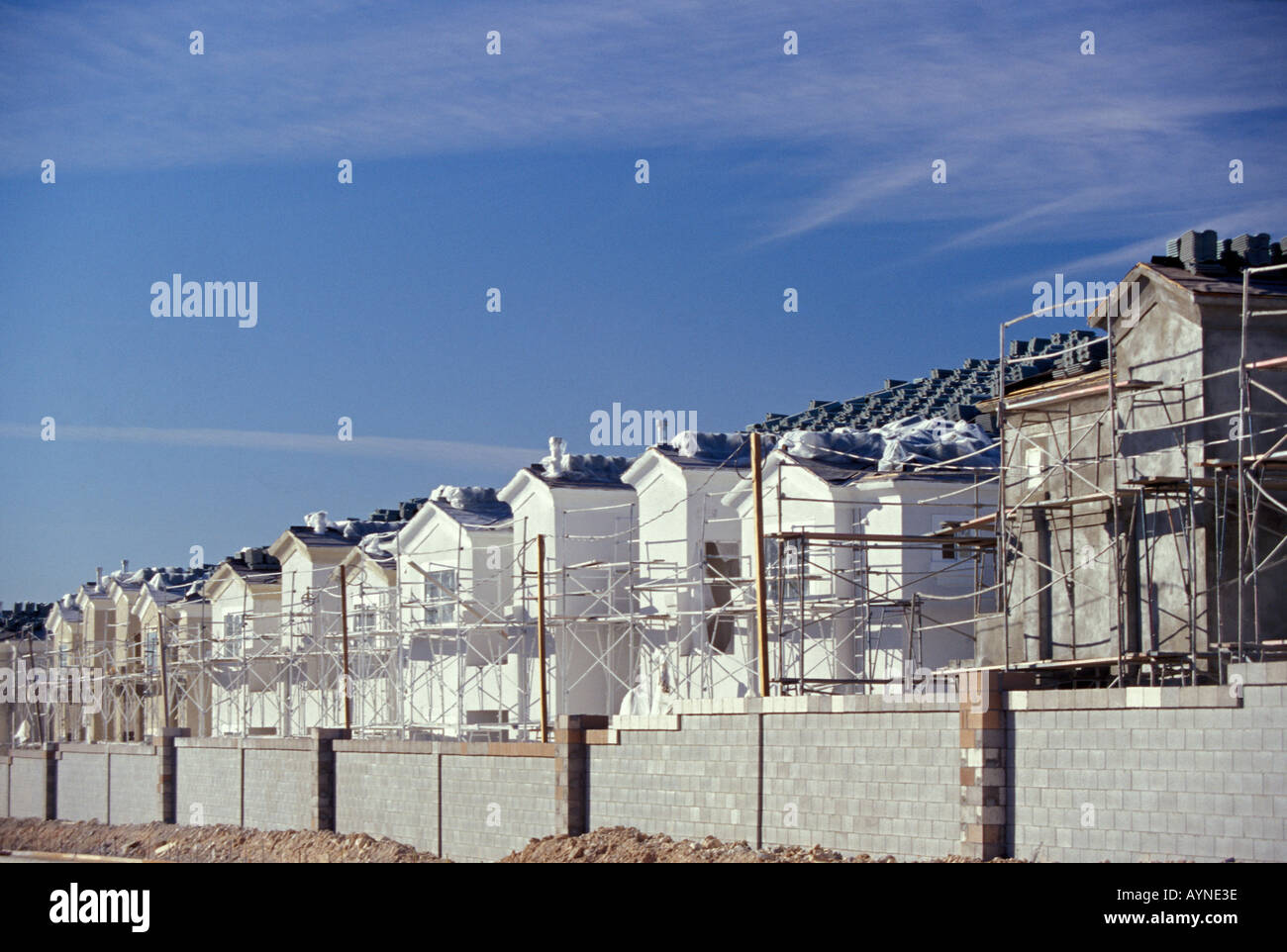 Housing construction of an entirely new neighborhood in Las Vegas Nevada - Stock Image