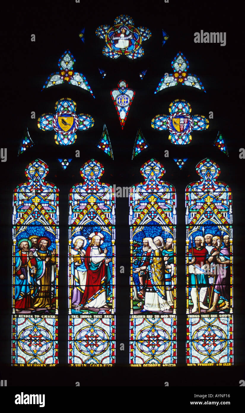 Stained glass window chester cathedral England UK Europe - Stock Image