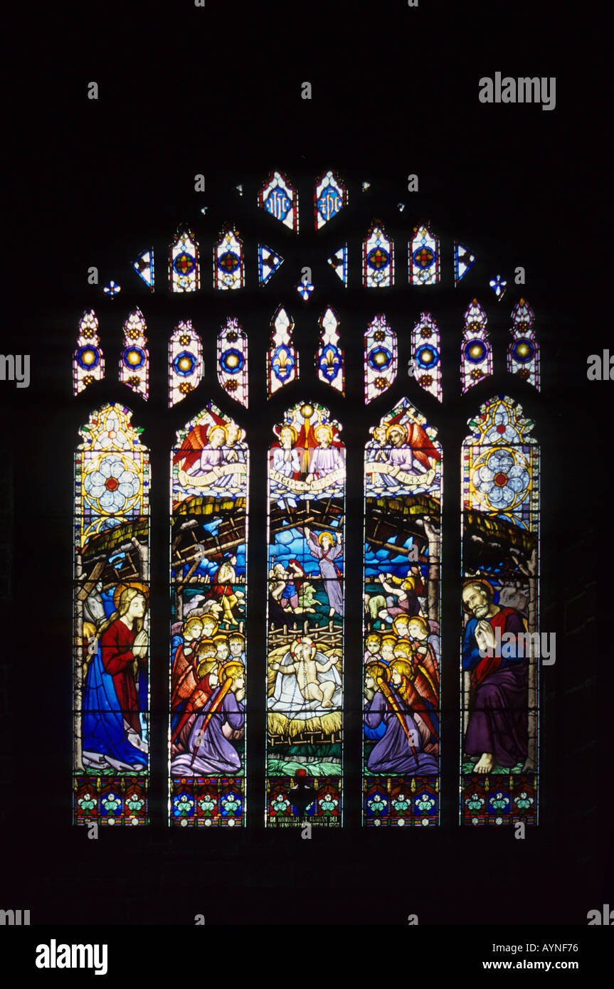 Stained glass window cathedral England UK Europe nativity - Stock Image