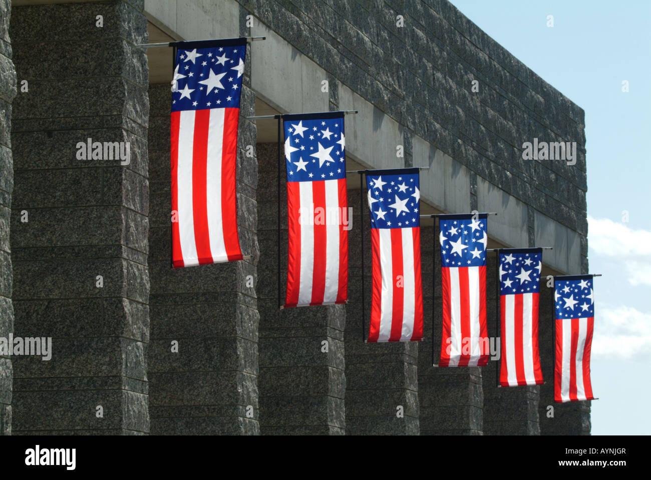 flags at mount rushmore national memorial - Stock Image