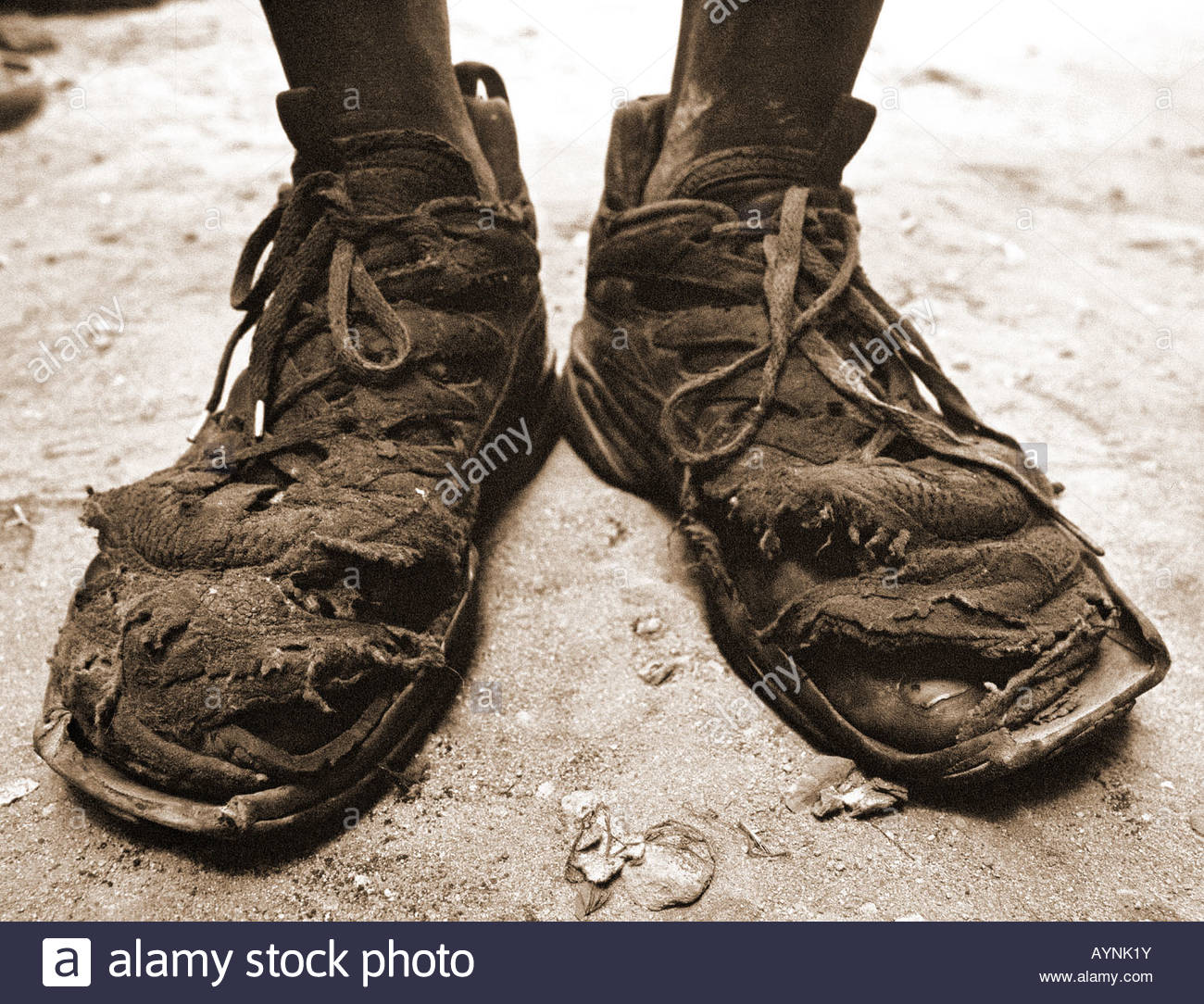 Mechanics shoes in Dar es Salaam Tanzania close up closeup shoes shoe - Stock Image