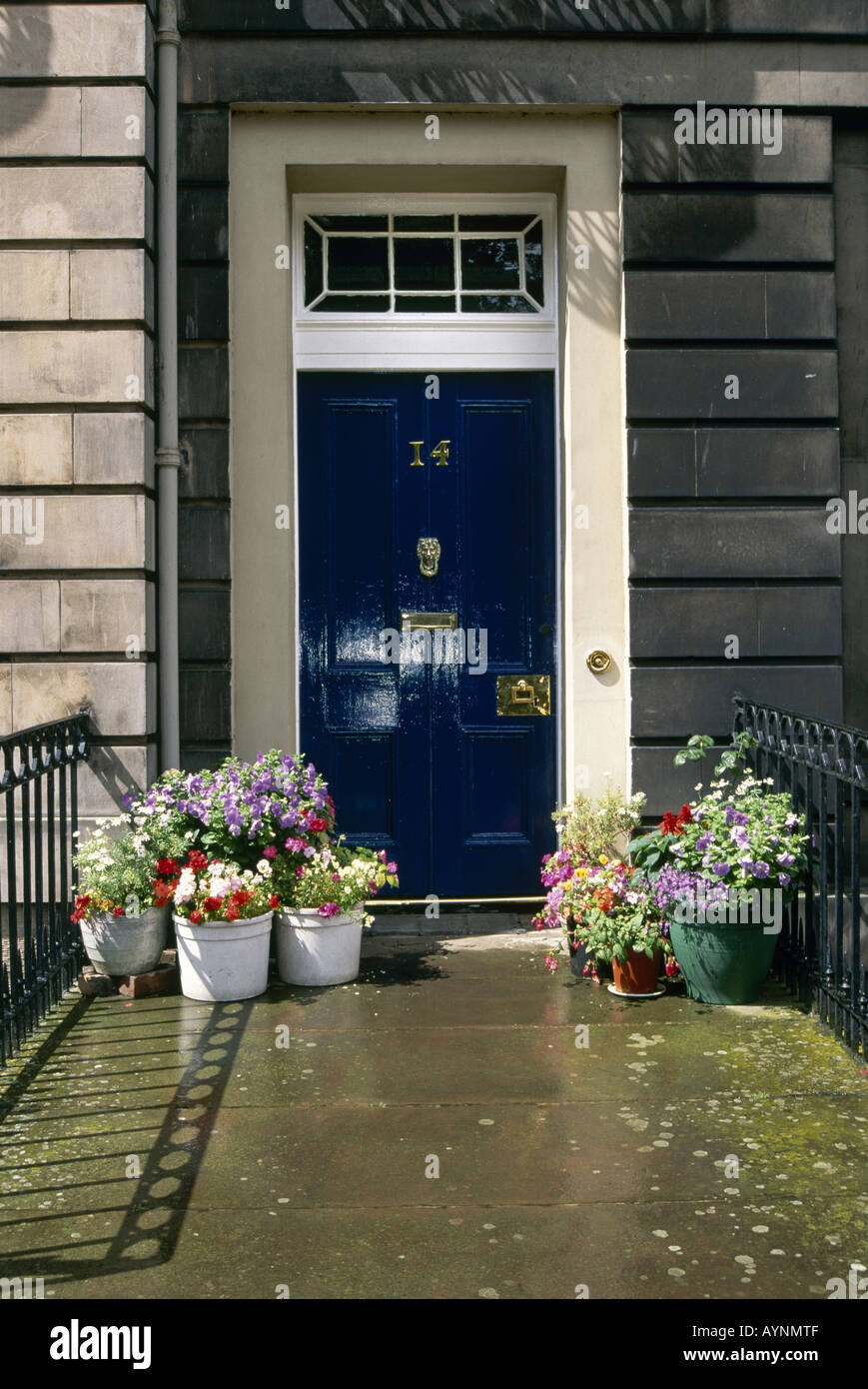 The Blue Front Door Of Number 14 Dean Terrace Decorated With