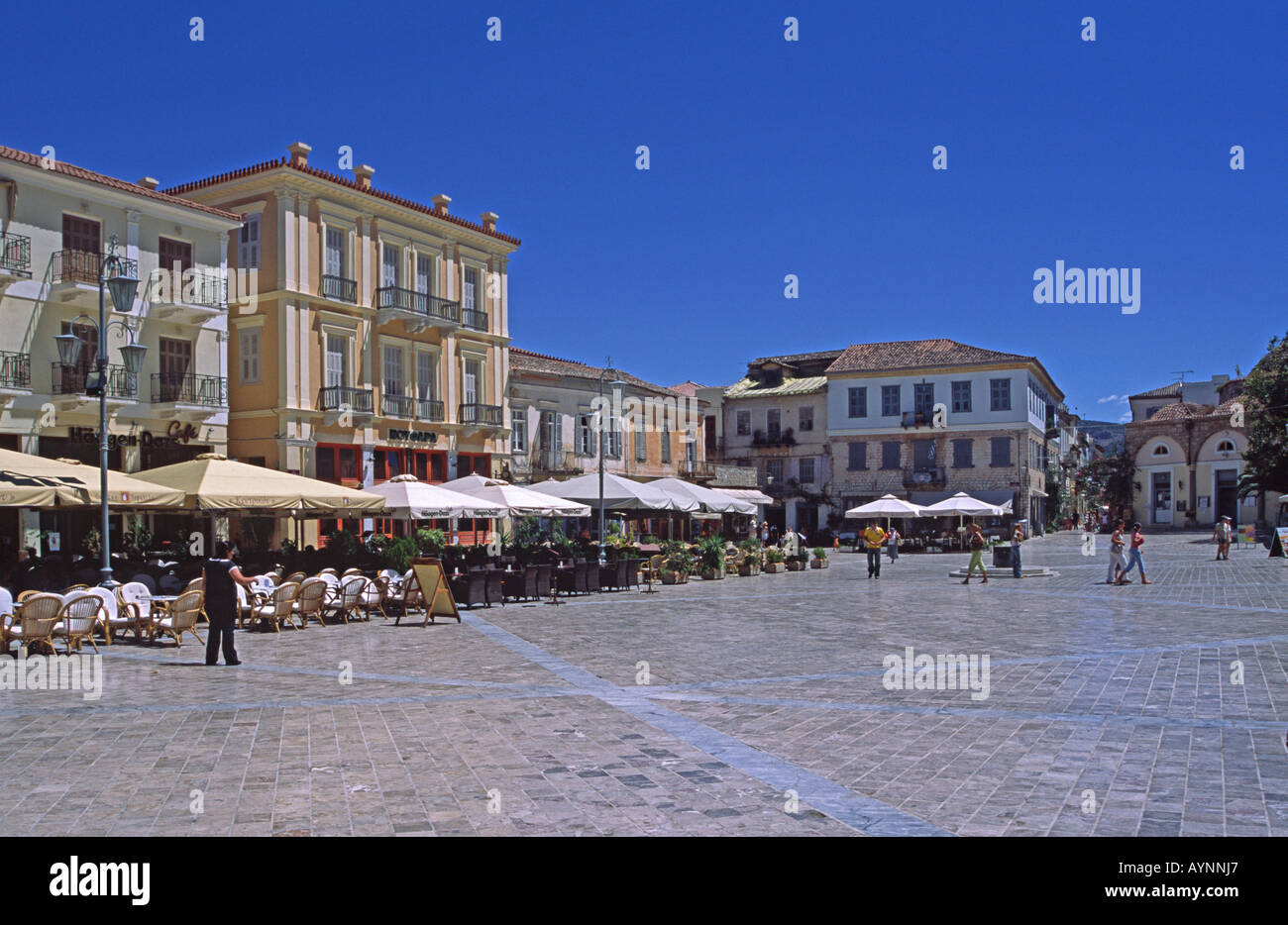 Main square in Greek town Navplion situated on Peloponnisos in Greece Stock Photo