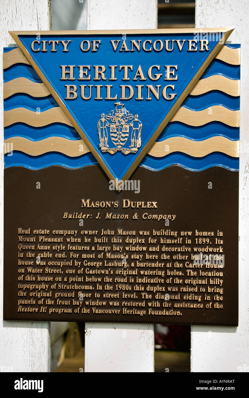 City of Vancouver Heritage Building designation plaque. - Stock Image