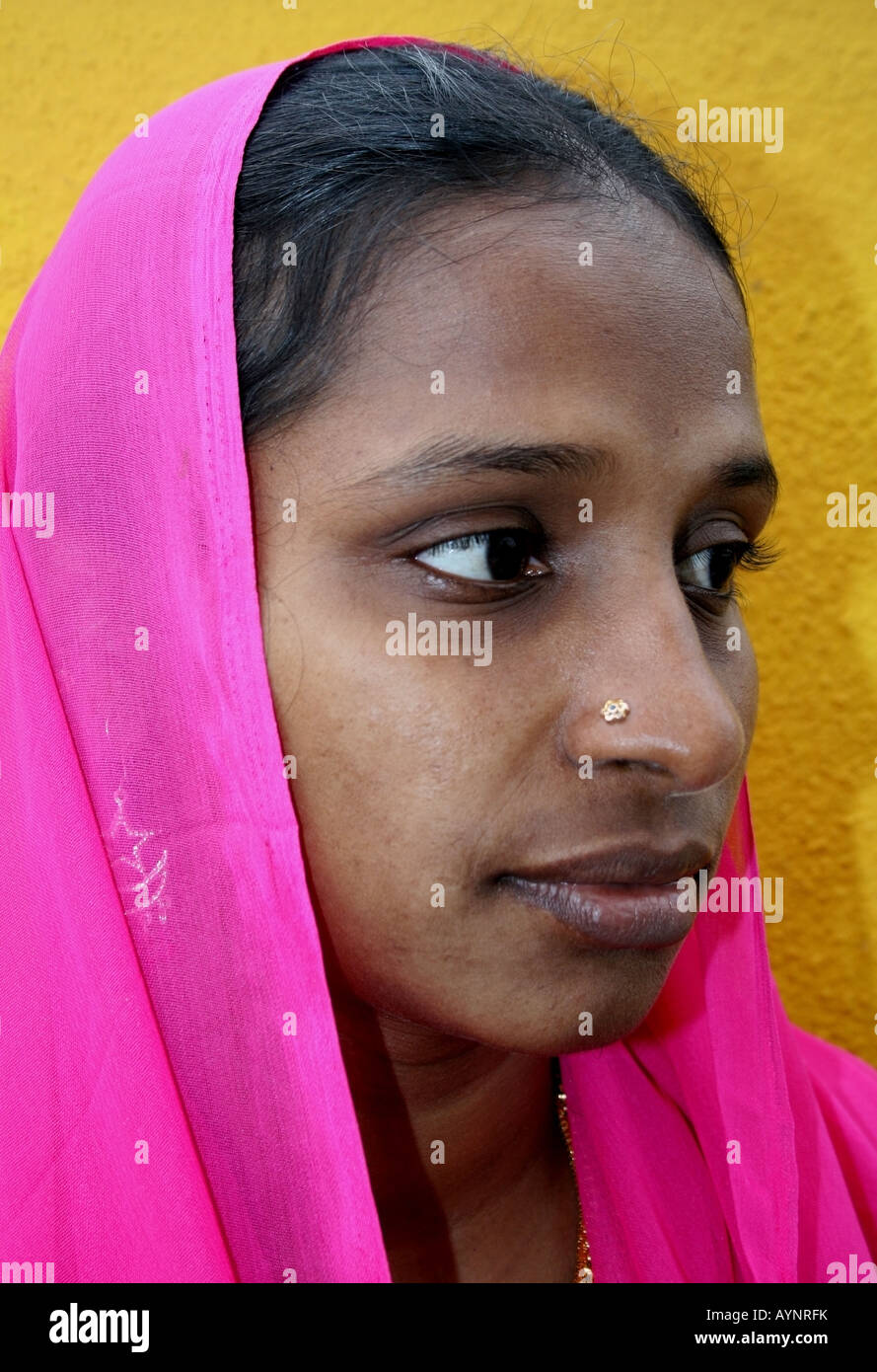 Portrait of an Indian Moslem lady , Tamil Nadu , India - Stock Image