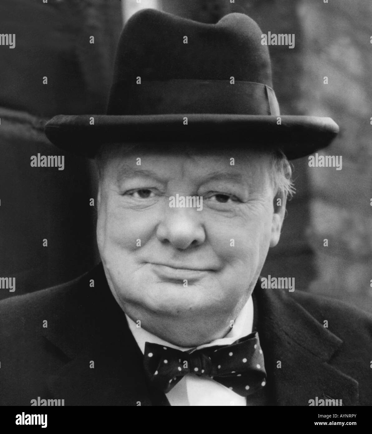 Sir Winston Churchill British wartime leader 1940 s image - Stock Image