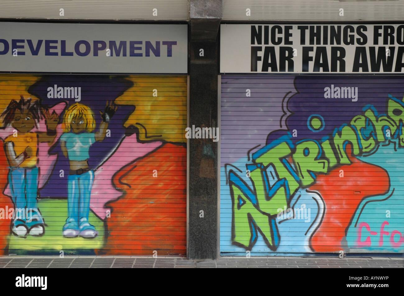 Graffiti in run down Altrincham - Stock Image