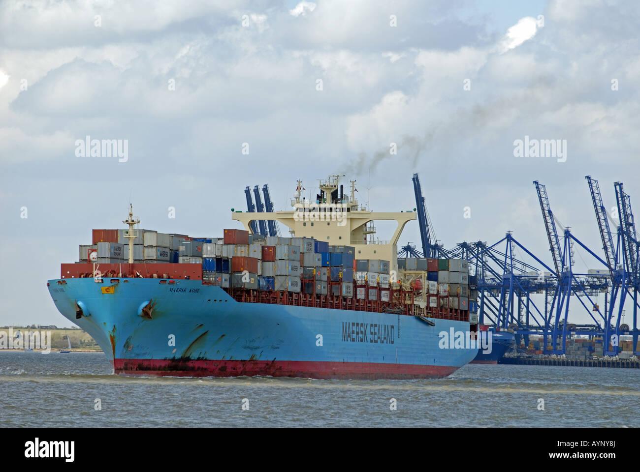 Maersk 'Kobe' container ship, Port of Felixstowe, Suffolk, UK. - Stock Image