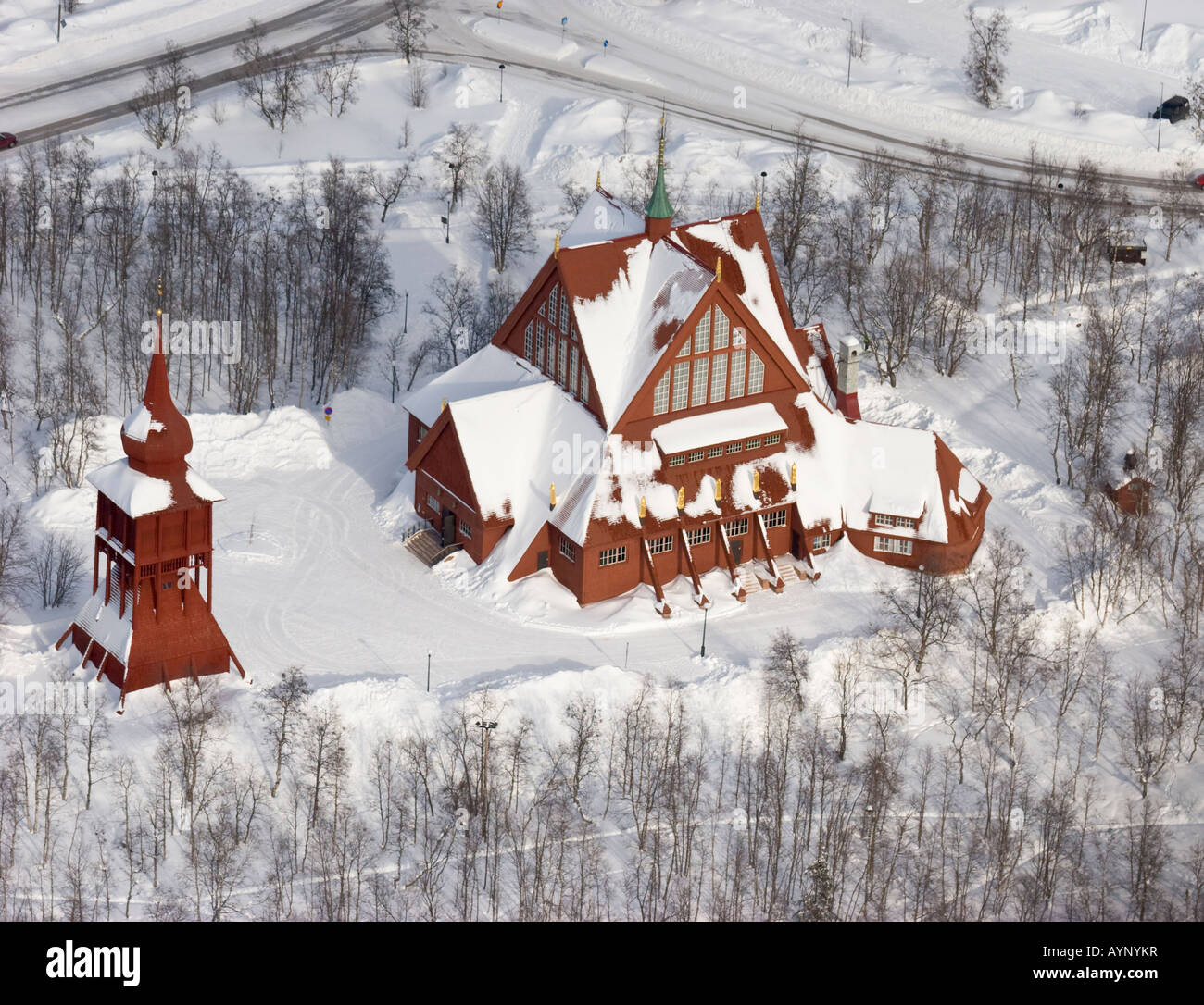 Aerial view on the Kiruna church in northern Sweden - Stock Image