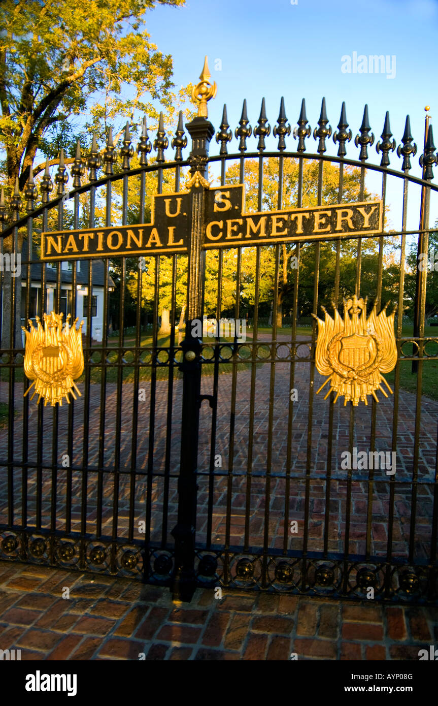 The gate to Shiloh National Cemetery at Shiloh National Military Park near Shiloh Tennessee - Stock Image