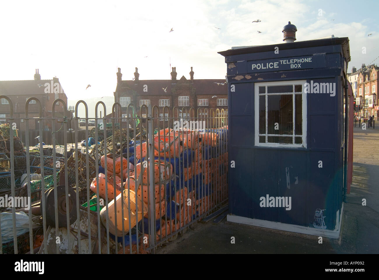 police phone box on seafront at scarborough seaside town in north yorkshire england dr who tardis blue flashing light - Stock Image