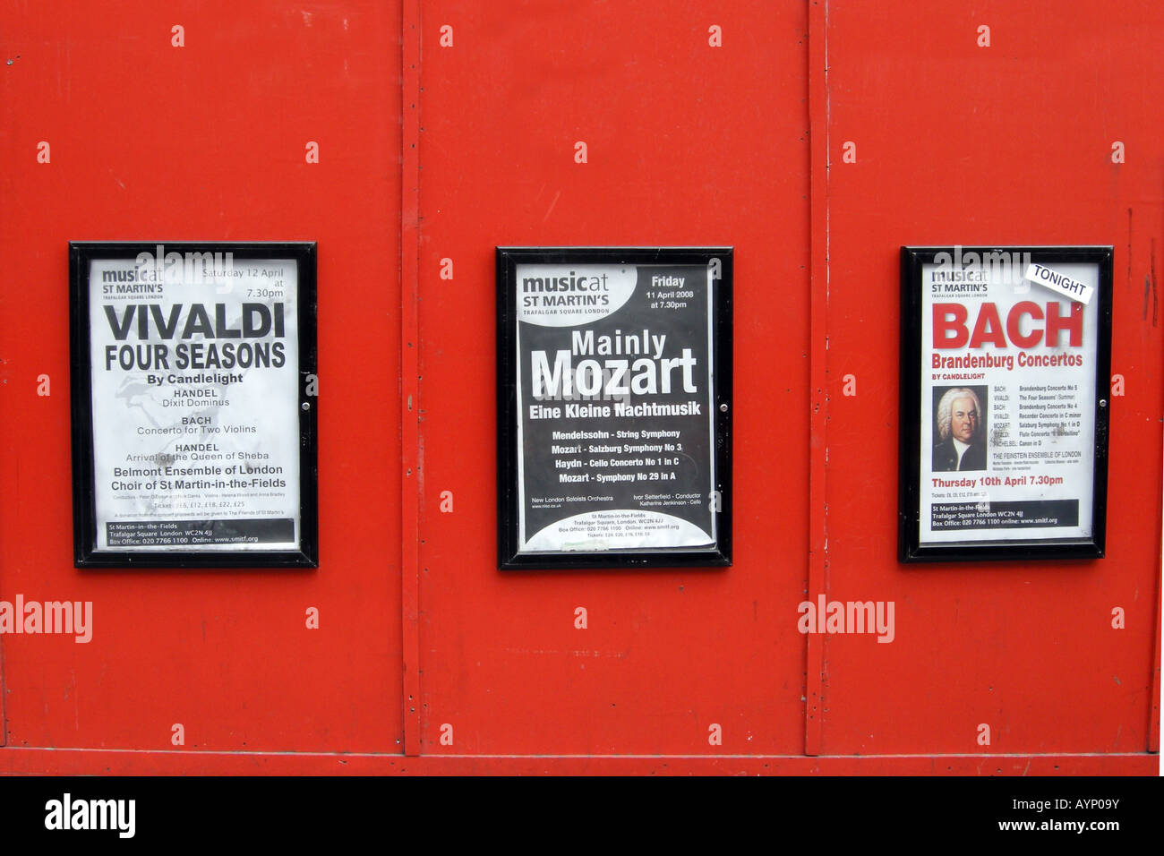 Posters advertising musical works by Vivaldi Mozart and Bach at various theatres in London - Stock Image