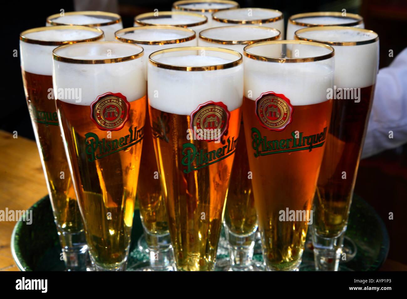 Prague czech beer Pilsner Urquell beer glasses waiter plate Stock