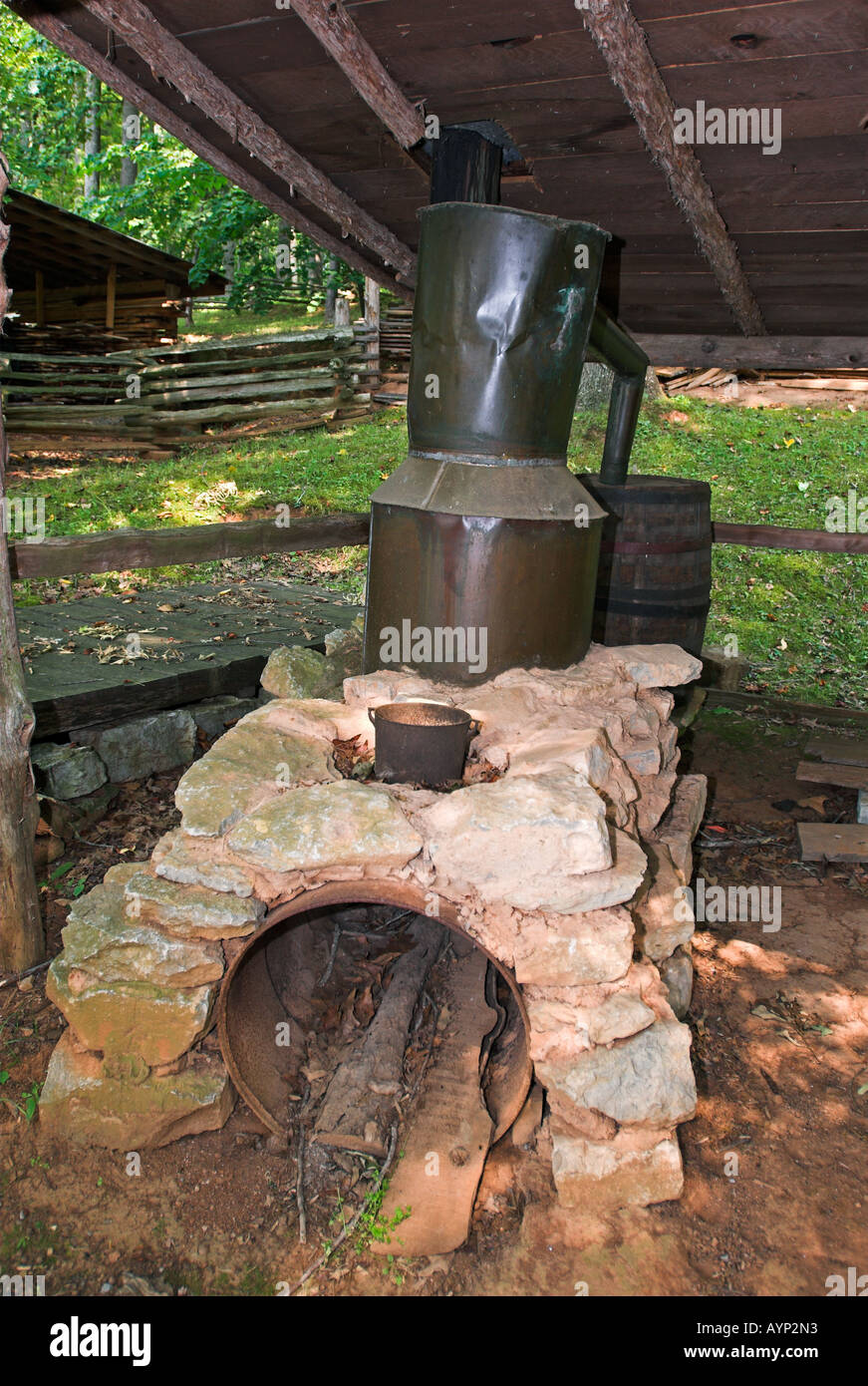 Moonshine still in the Museum of Appalachia near Norris in Tennessee, USA - Stock Image