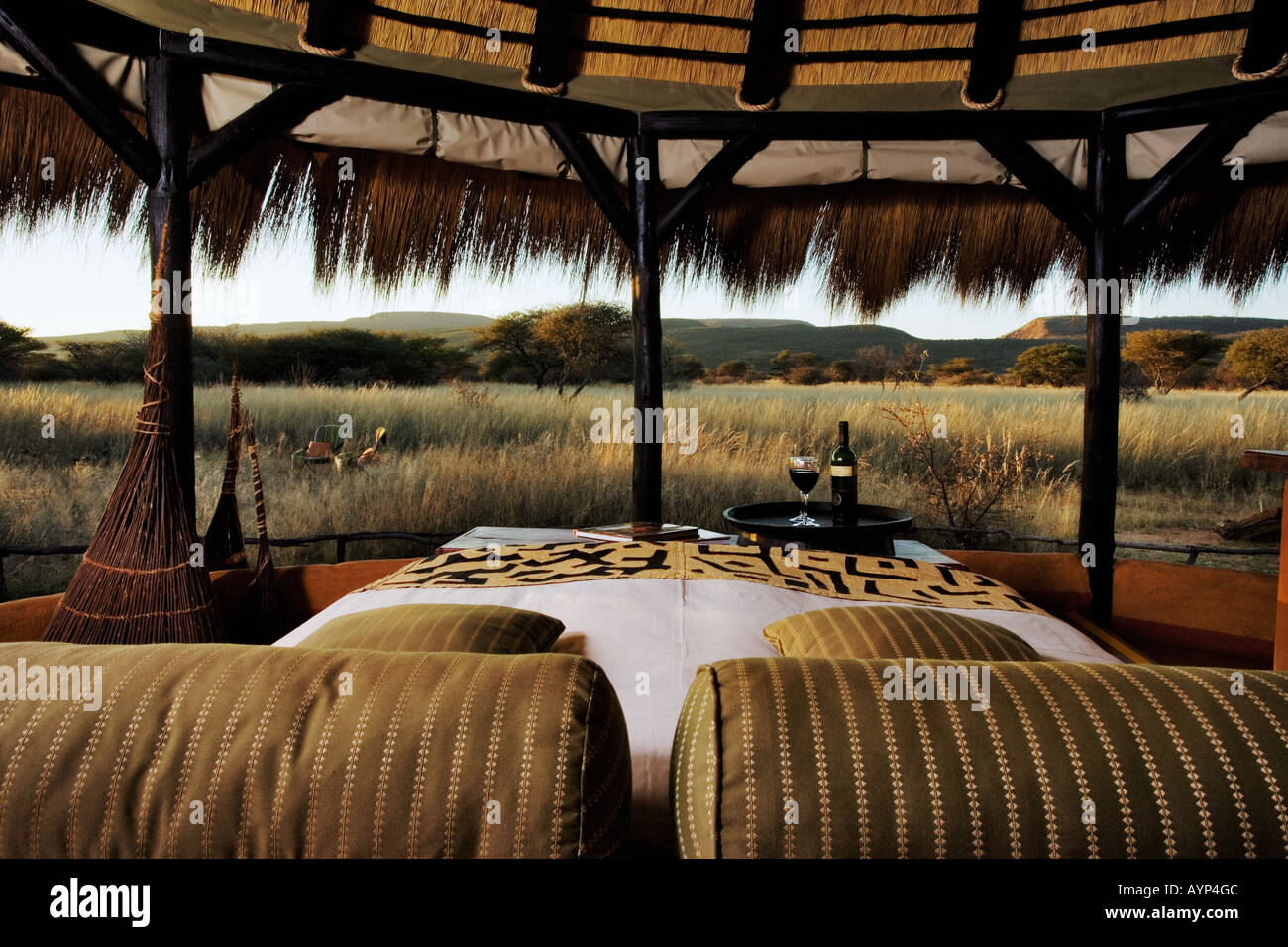 Breath taking view of the Omboroko Mountains  Bush Camp in Okonjima Private Game Reserve Namibia - Stock Image
