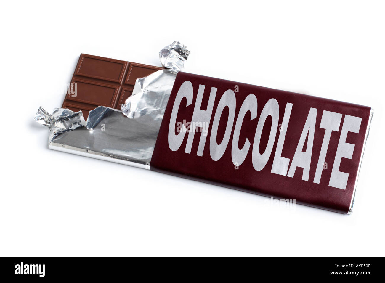 Chocolate Bar with open wrapper - Stock Image