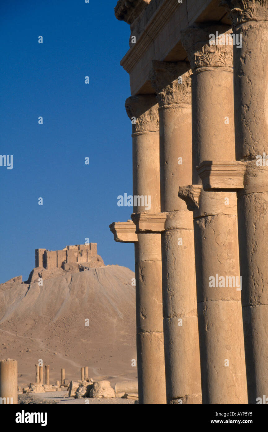 SYRIA Middle East Central Tadmur Palmyra Arab Castle or Qalaat Ibn Maan on the hilltop with columns in foreground - Stock Image