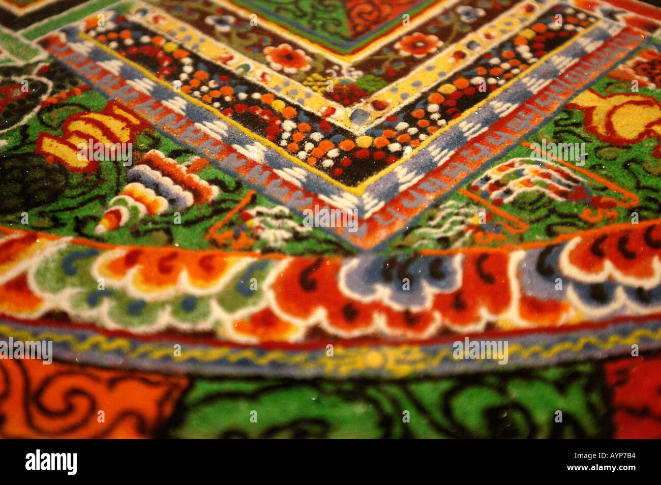 Tibetan Buddhist sand mandala close up - Stock Image