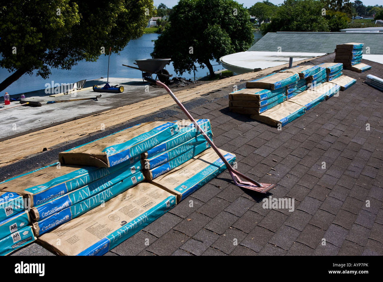 Roofing Shingles Stacked For Installation Stock Photo