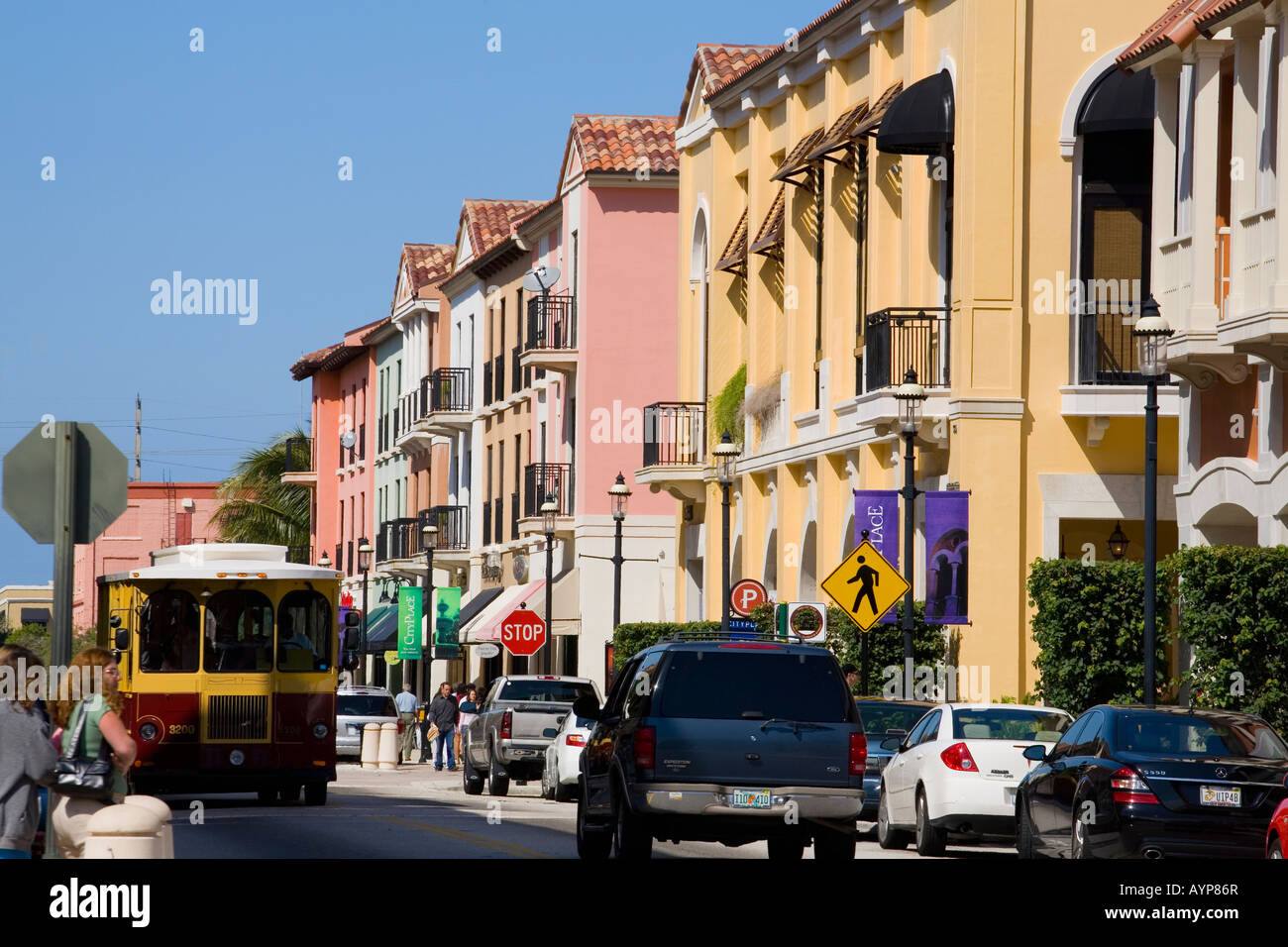 Trolley at City Place West Palm Beach Florida Stock Photo