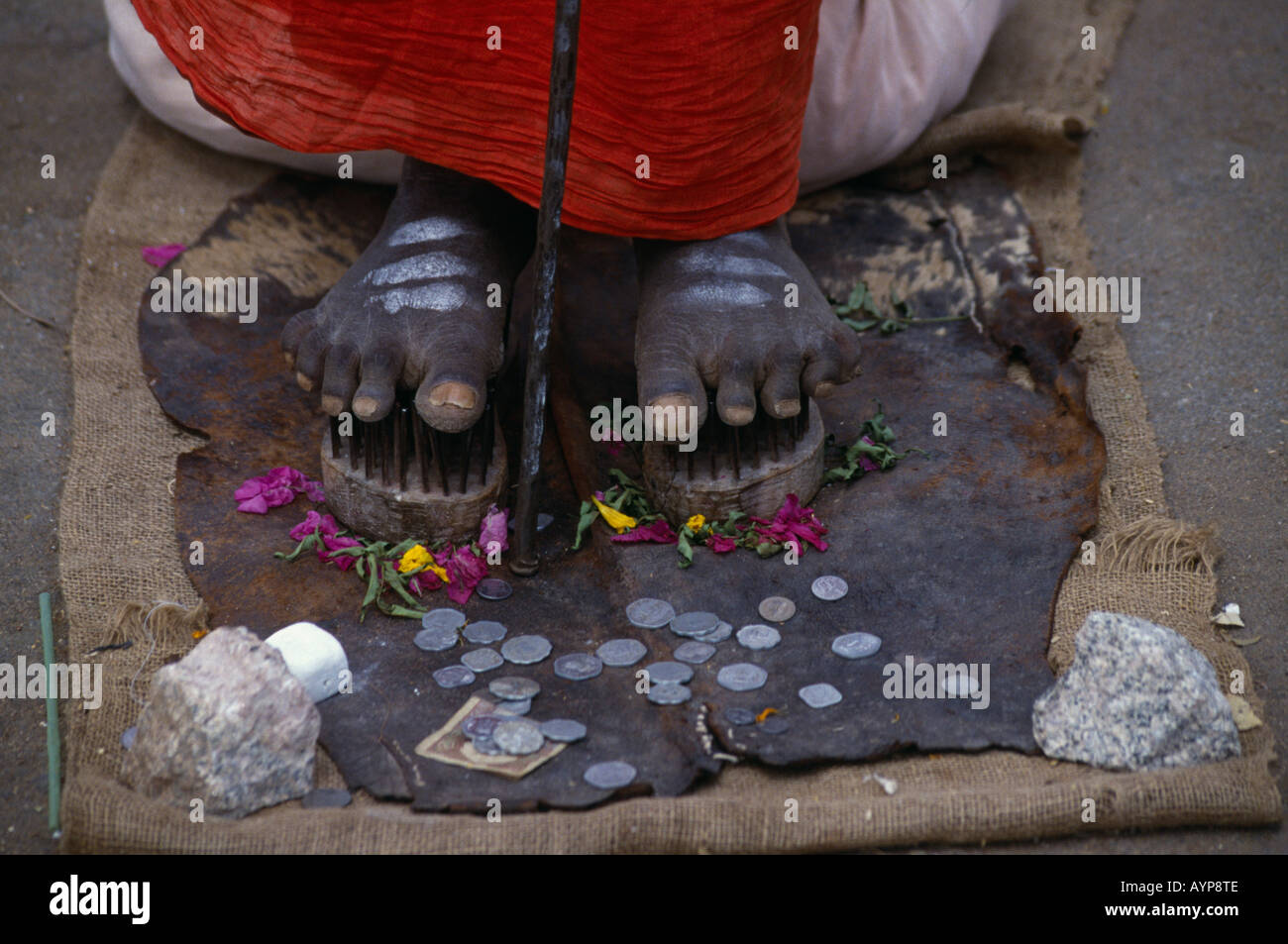 INDIA South Asia Karnataka Mysore Religion Hindu Cropped shot of Sadu Holy Man standing on nails with coins given by passers by - Stock Image