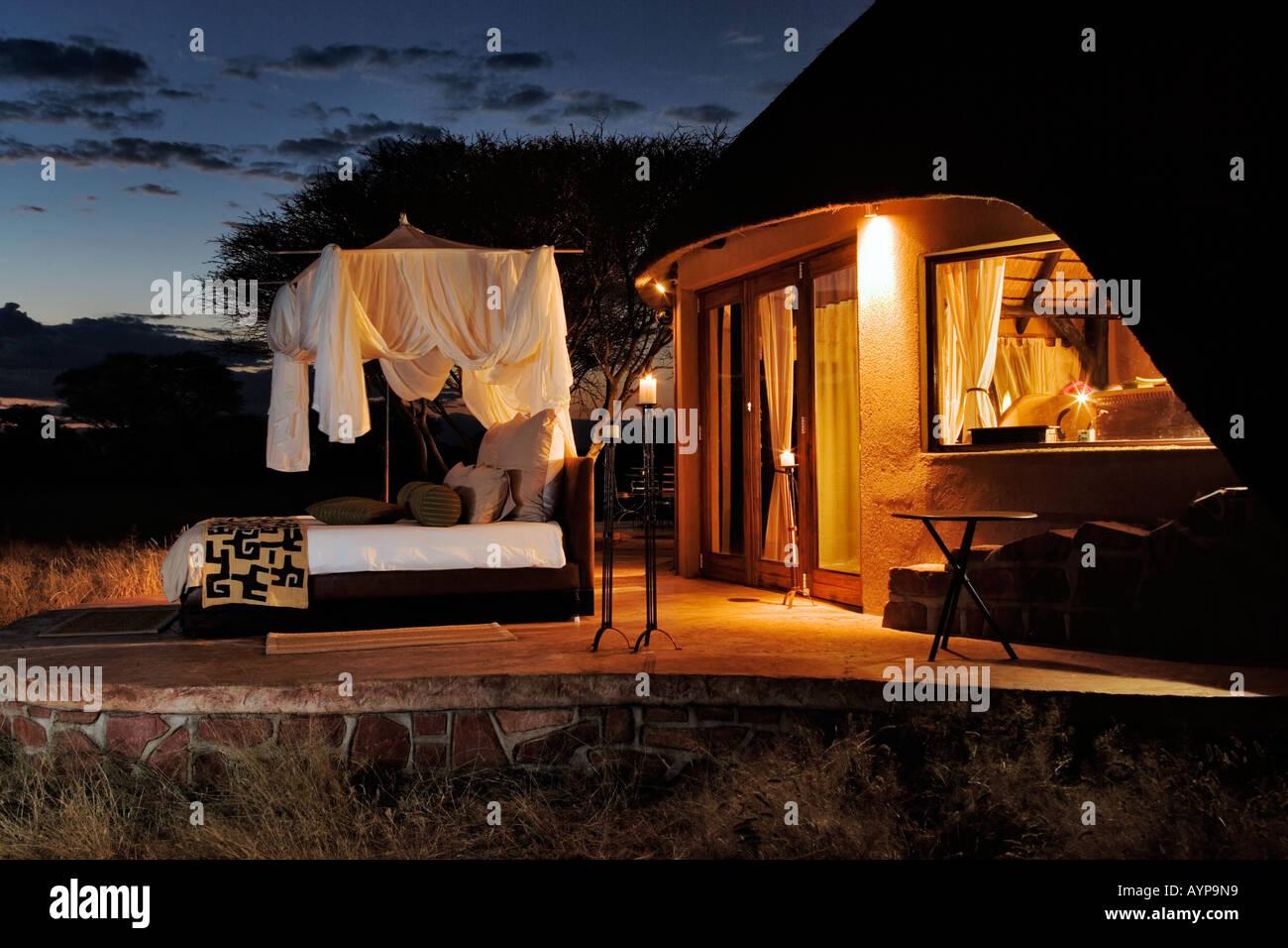 The Villa in Okonjima Private Game Reserve. Exclusive luxury bedroom Namibia - Stock Image