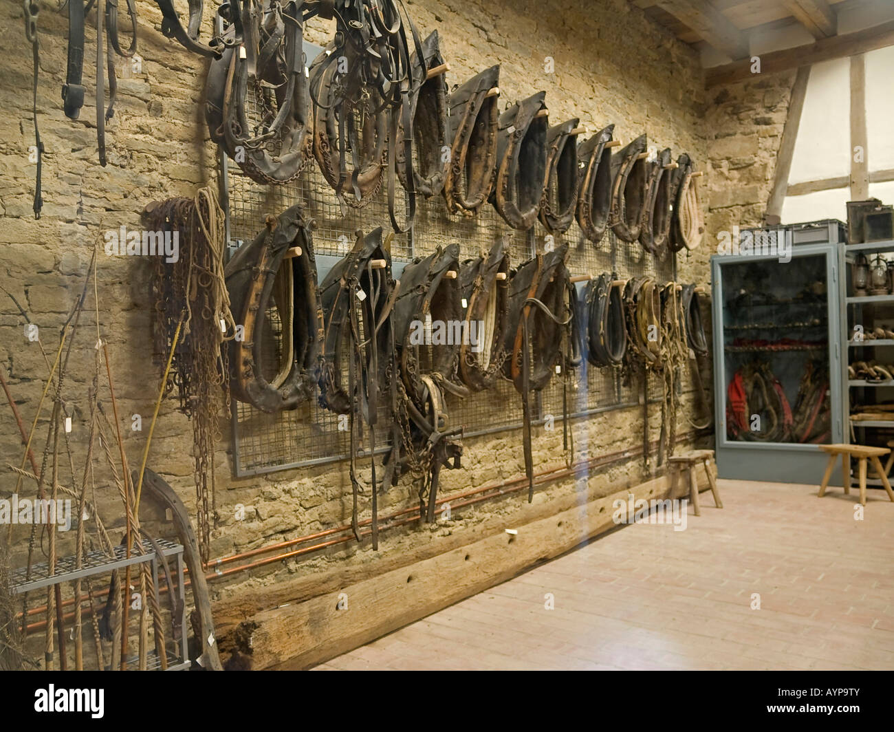Horse Harness On Wall In Stock Photos Ayp Wiring Yoke Rows Of Old Yokes For Hanging A Barn The
