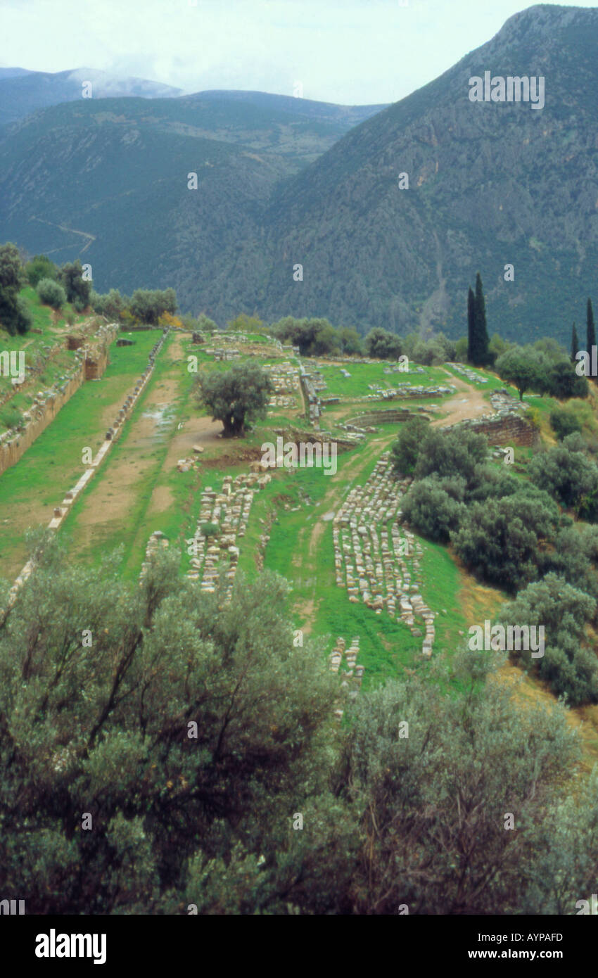 The ancient stadium Delphi Greece Stock Photo