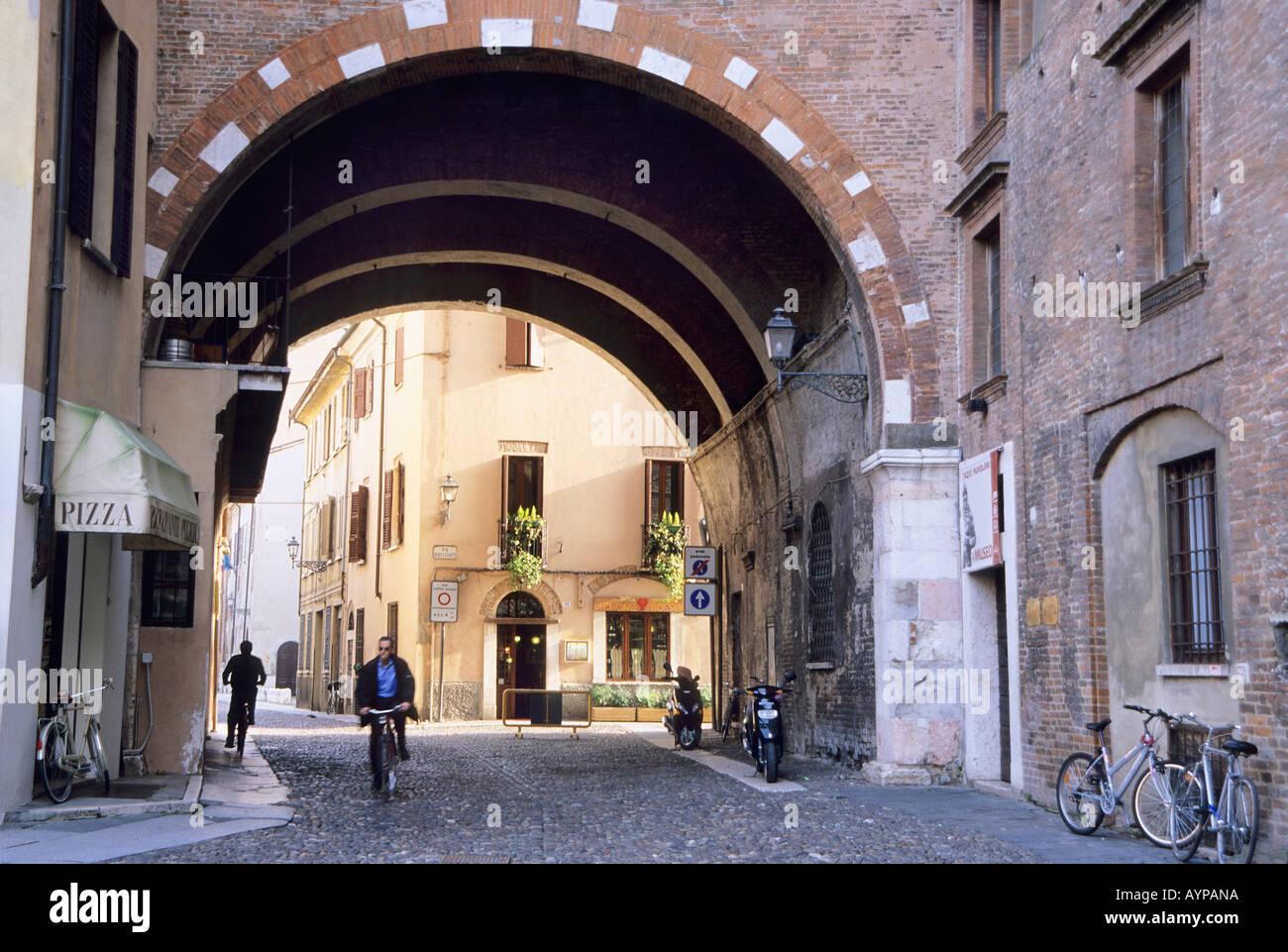 Gothic arch of Palazzo del Podesta Piazza Broletto Mantova