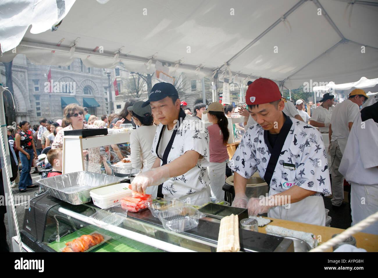 Food Stand Cherry Blossoms Festival Washington Dc Usa