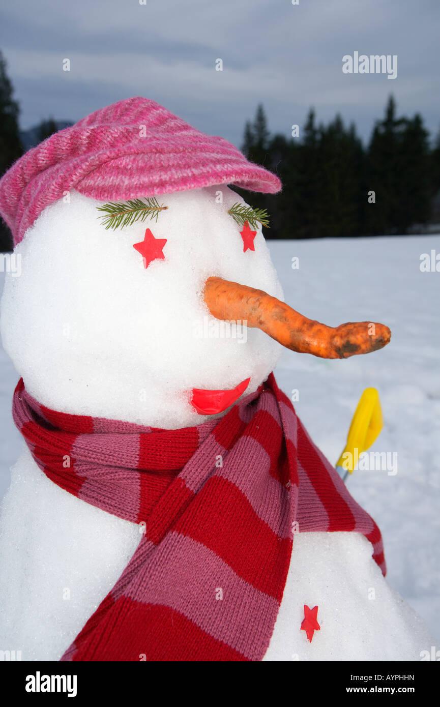 Snowman, portrait - Stock Image