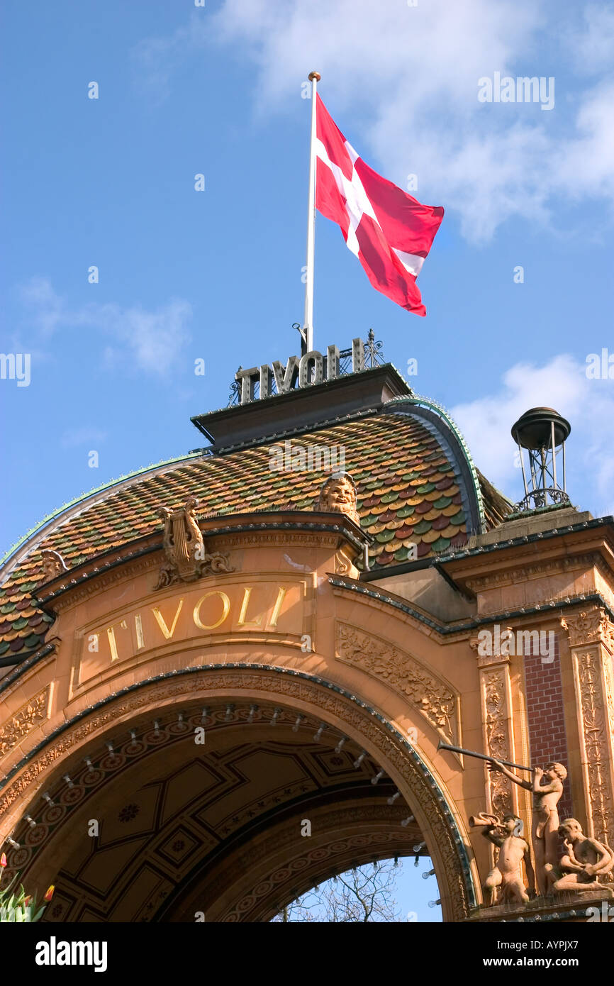 Tivoli entrance Gate with the flag Dannebrog Copenhagen Denmark - Stock Image