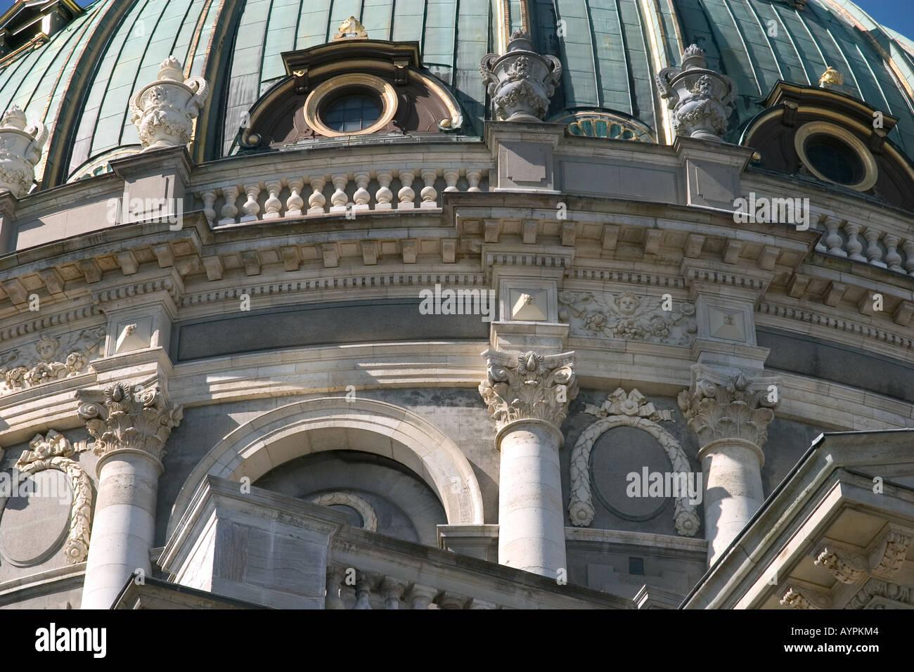 The dome of the Marble Church King Frederiks Church Copenhagen Denmark - Stock Image