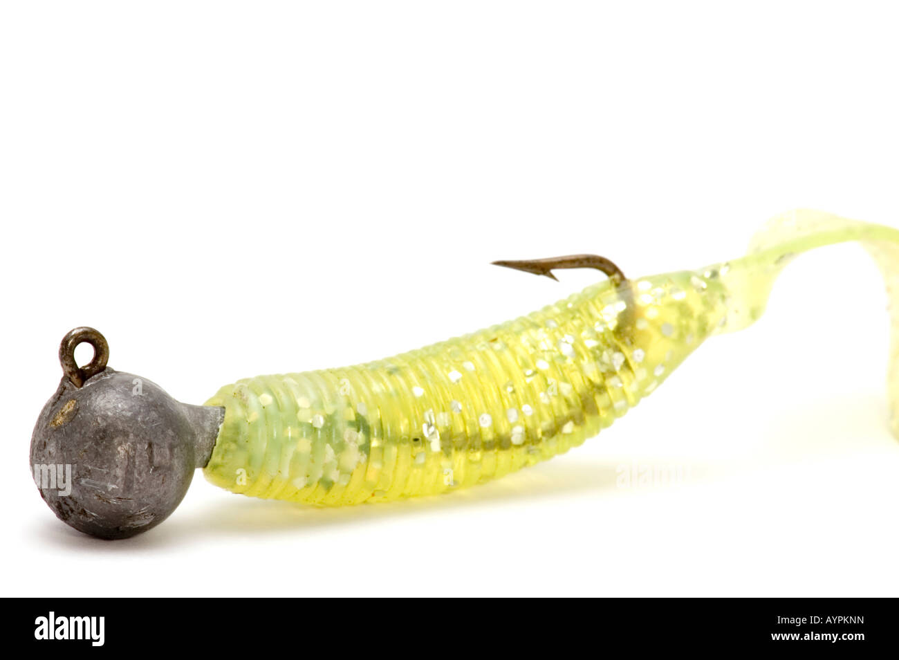 object on white spoon bait with hook - Stock Image