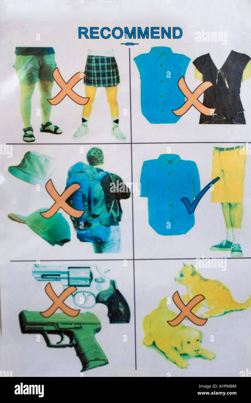 Sign showing acceptable and unacceptable types of clothing posted at the entrance to the Perfume Pagoda, Mt. Huong - Stock Image