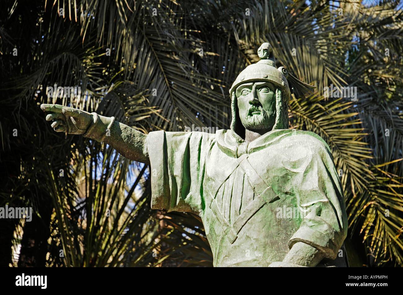 Sculpture of Jaime the Conqueror, Huerto del Cura Gardens, Palmeral of Elche, Elx, Alicante, Costa Blanca, Spain - Stock Image