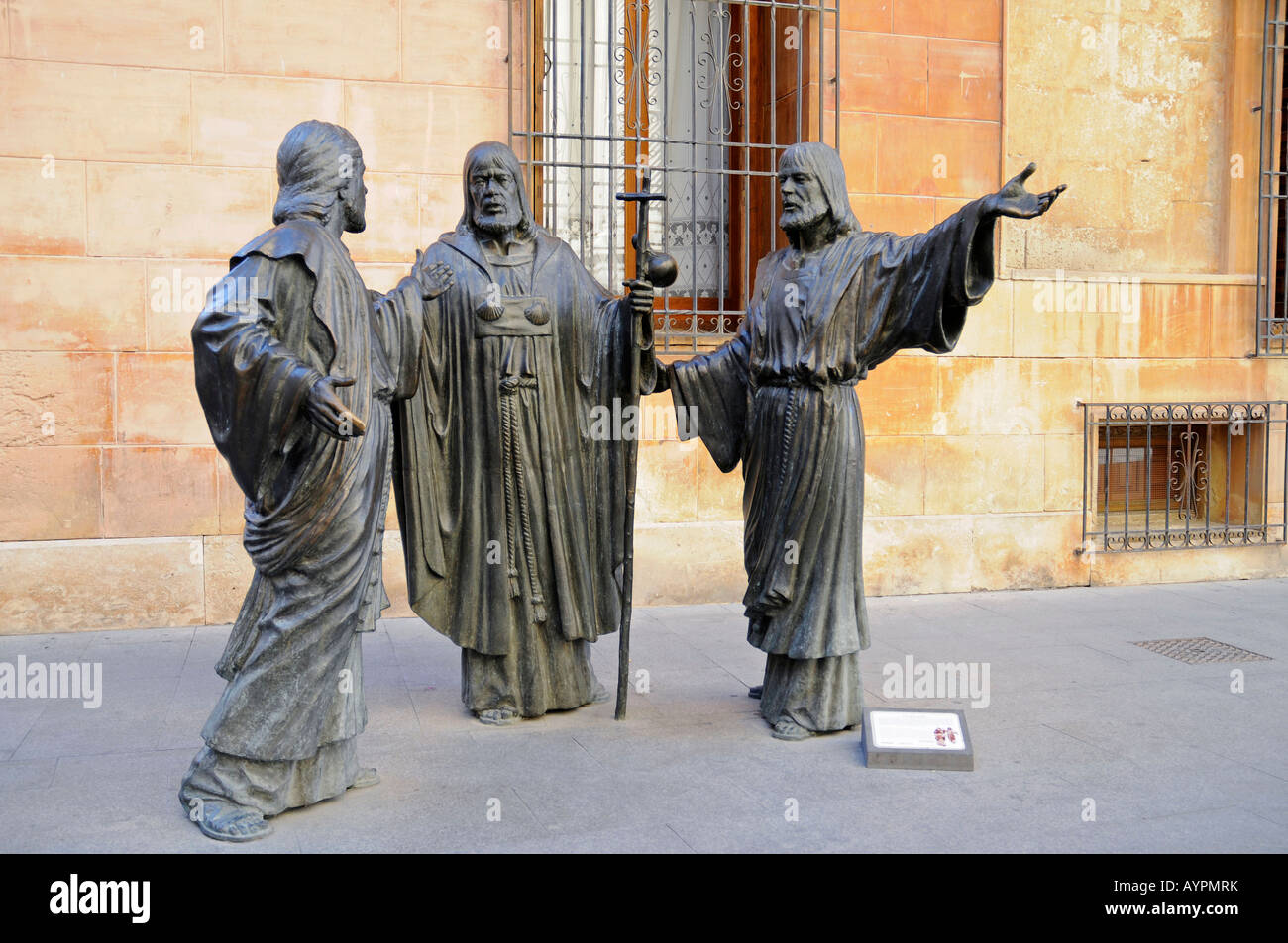 Bronze sculptures, Santa Maria Basilica, Elche, Elx, Alicante, Costa Blanca, Spain - Stock Image