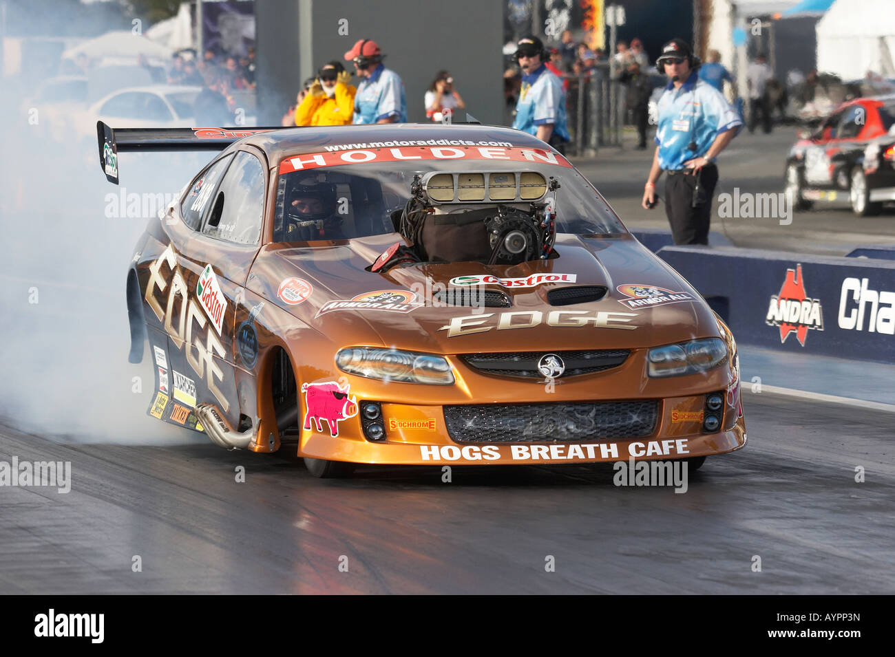 Ben Bray, leading Australian Top Doorslammer driver, performs a pre race burnout to warm the tyres Stock Photo