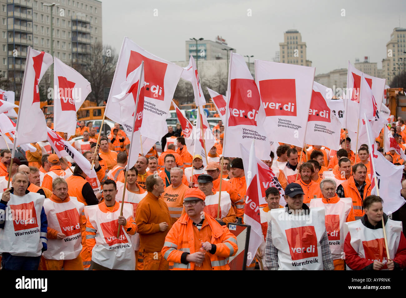 BSR and BWB water and garbage workers union walkout, warning strike demonstrations on February 22, 2008 in Berlin, - Stock Image