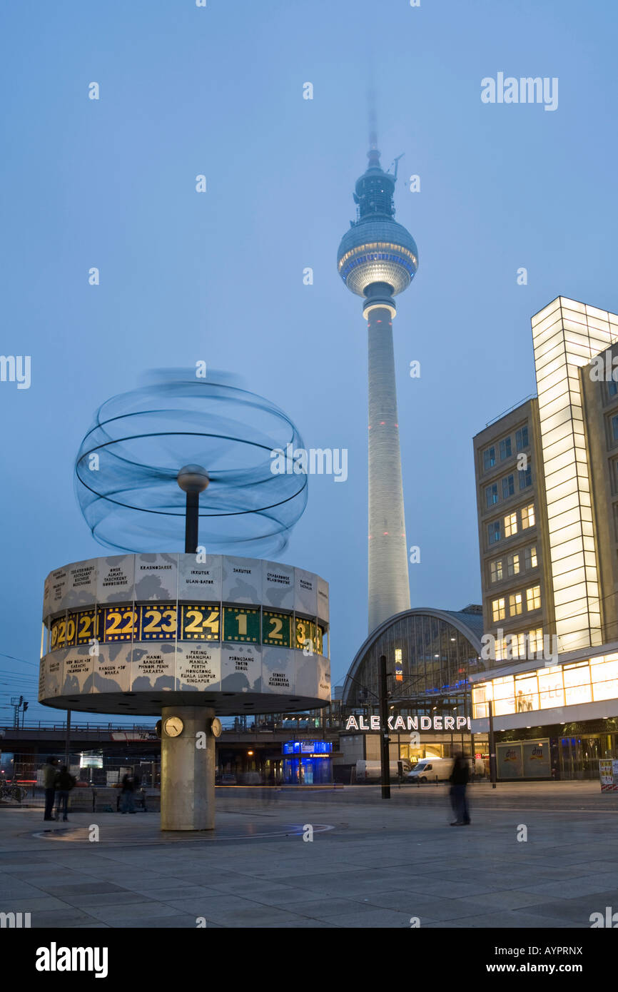 World time clock, television tower and Berolina house at the Alexanderplatz, Mitte, Berlin, Germany, Europe Stock Photo