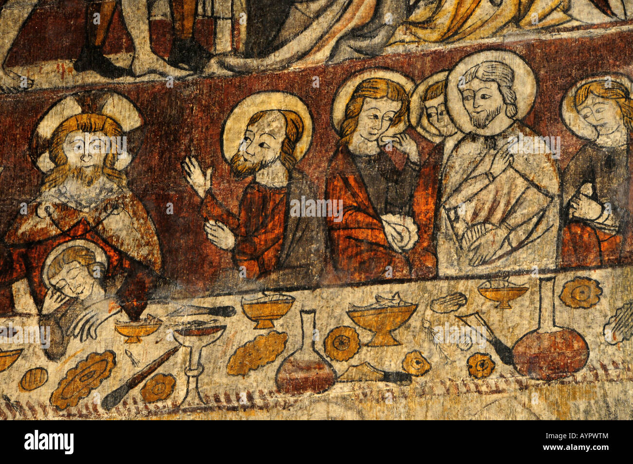 Fourteenth-century Gothic wall mural in the chapel at the Parador in Alcañiz, Teruel Province, Spain, Europe - Stock Image