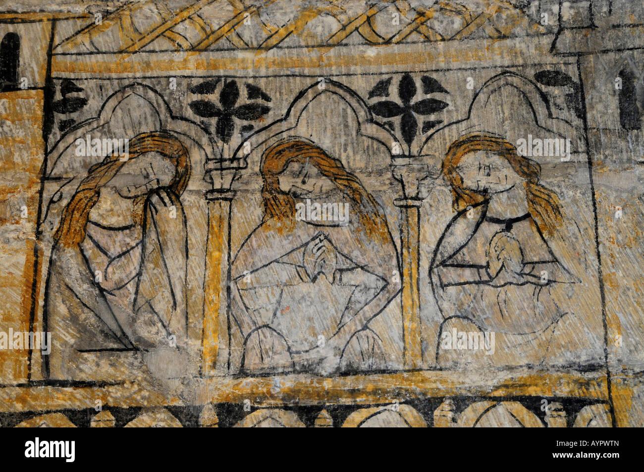 'Castillos de amor, ' fourteenth-century Gothic wall mural in Torre del Homenaje, Parador, Alcañiz, - Stock Image