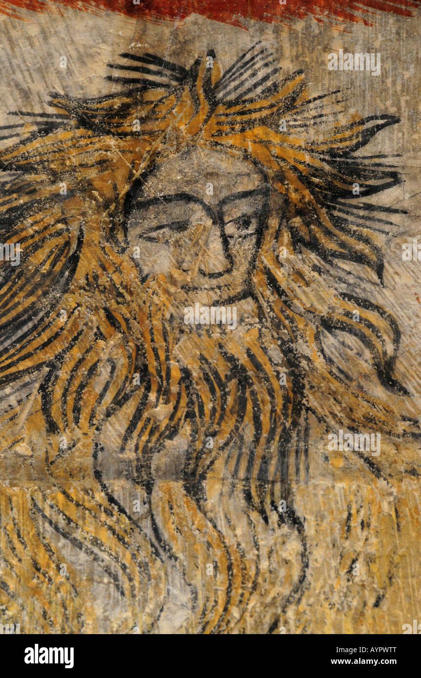 Devil, fourteenth-century Gothic wall mural in Torre del Homenaje, Parador, Alcañiz, Teruel Province, Spain, - Stock Image