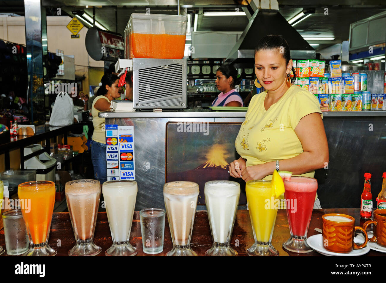 Selection of fruit juices, Costa Rica, Central America - Stock Image