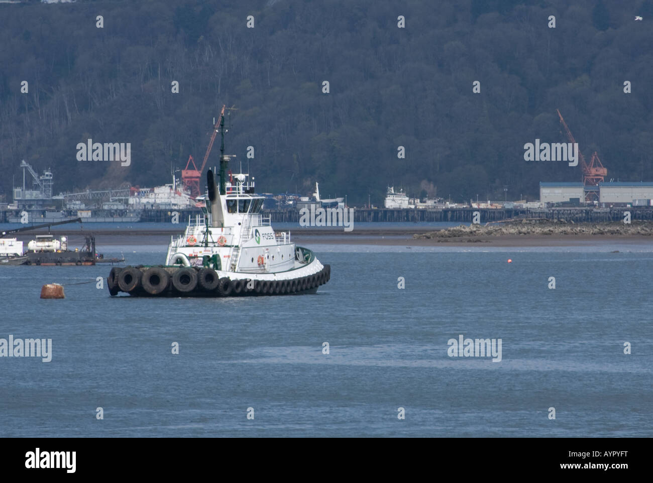 Tugboat anchored in Commencement bay, Tacoma, WA - Stock Image