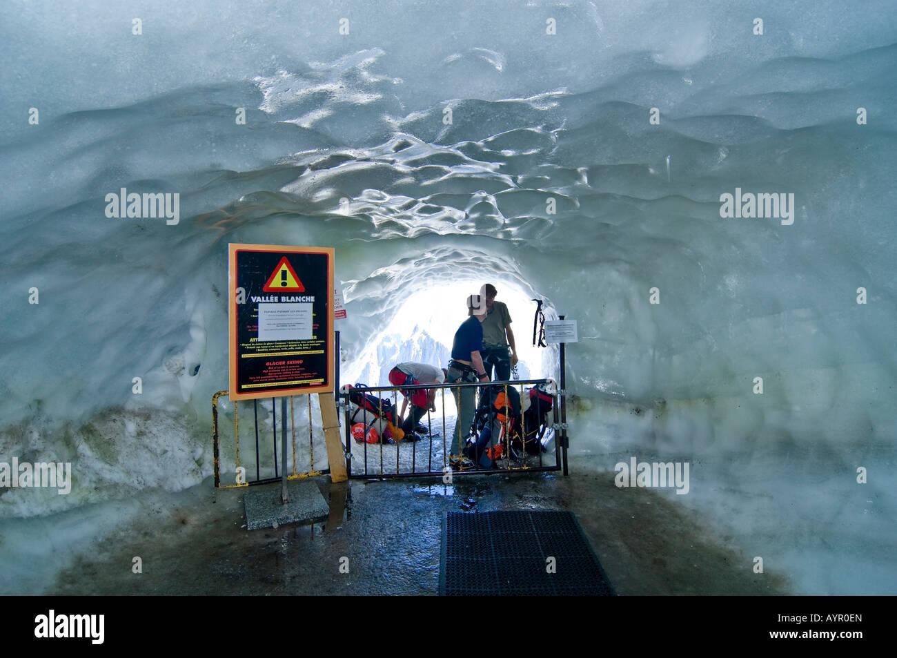 Ice grotto at the entrance to Col du Midi (Midi Pass), Mt. Aiguille du Midi, Mont Blanc Massif, Chamonix, France Stock Photo